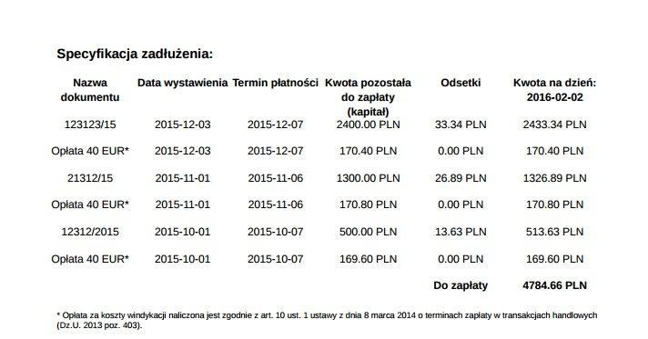 obrazek pokazuje opłaty 40 euro opisane w specyfikacji zadłużenia