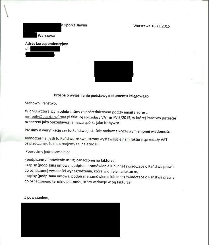 pismo od spółki