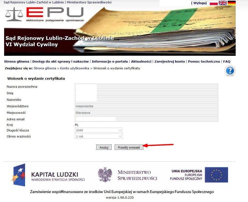 certyfikat w EPU 2