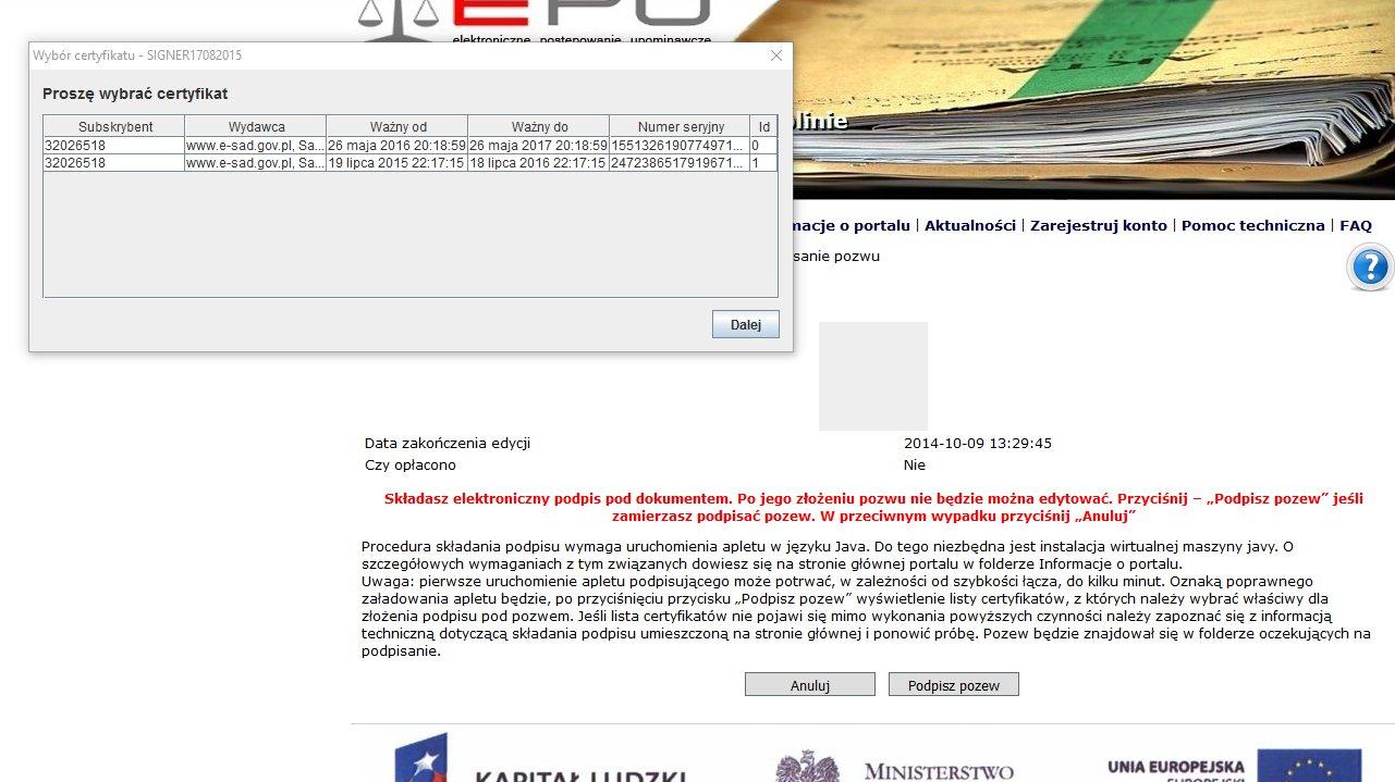 podpisanie pozwu w e-sądzie 4