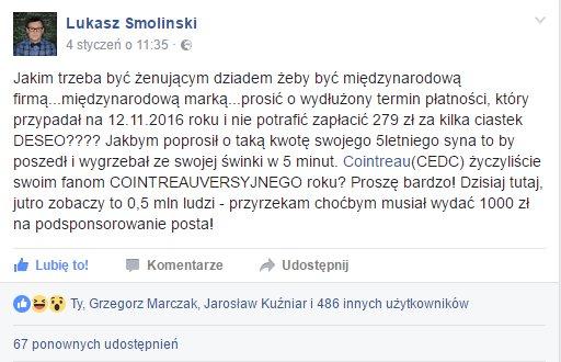 windykacja na facebooku post Łukasza Smolińskiego