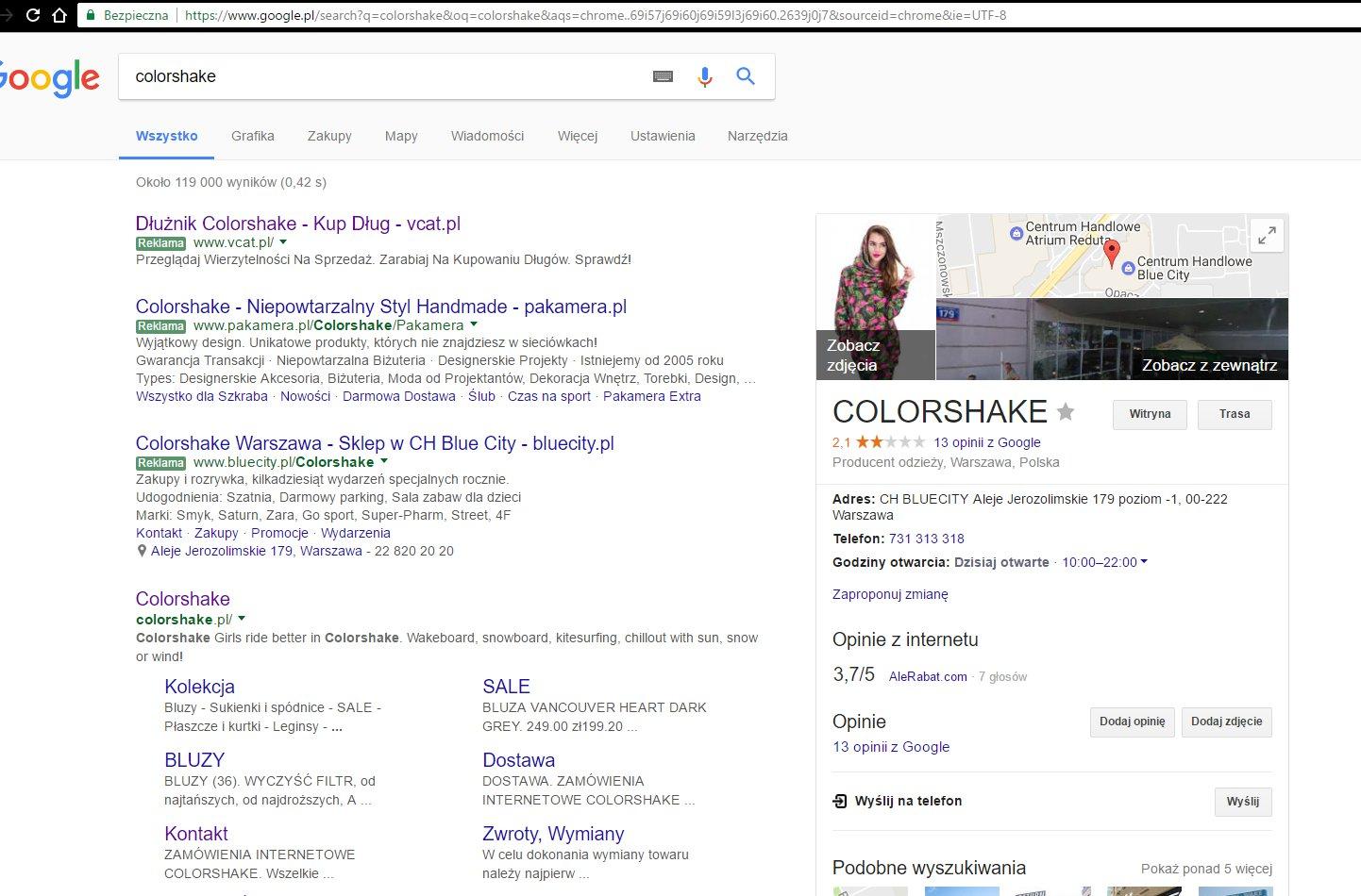 windykacja w social media poprzez google - colorshake na giełdzie długów Vindicat.pl