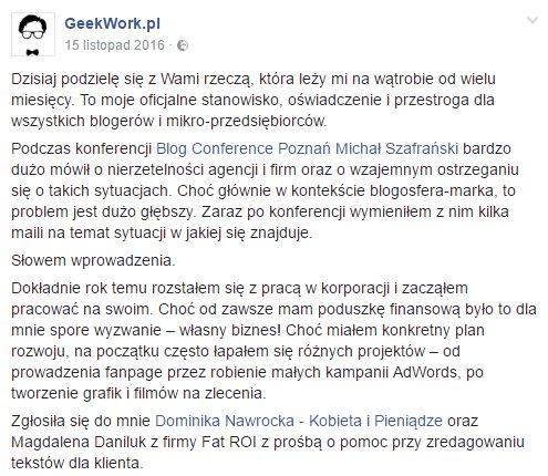 windykacja w social mediach - post GeekWork